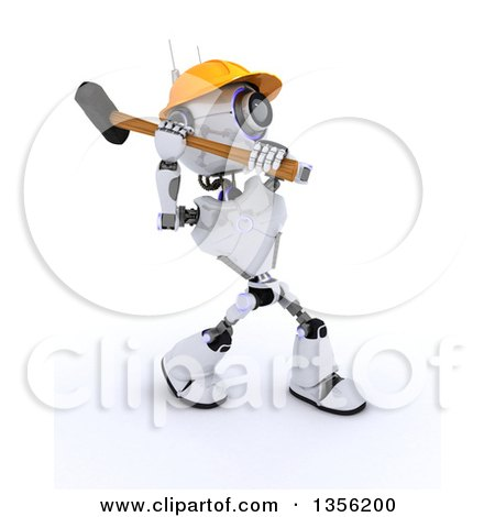 Clipart of a 3d Futuristic Robot Construction Worker Contractor Swinging a Sledgehammer, on a Shaded White Background - Royalty Free Illustration by KJ Pargeter