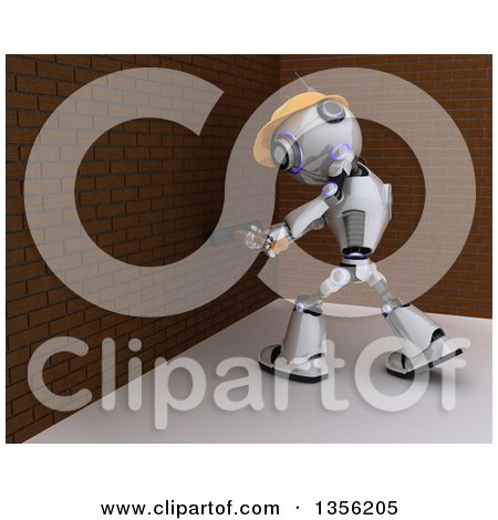 Clipart of a 3d Futuristic Robot Construction Worker Contractor Demolishing a Brick Wall with a Sledgehammer - Royalty Free Illustration by KJ Pargeter