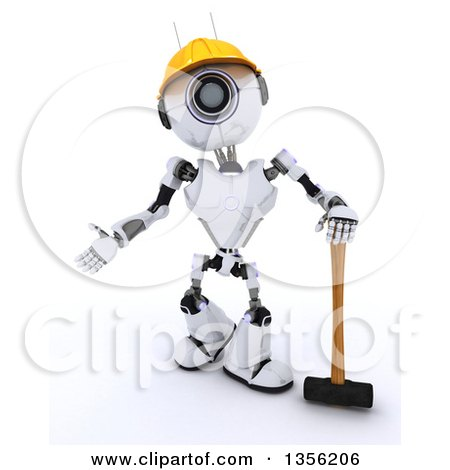 Clipart of a 3d Futuristic Robot Construction Worker Contractor Standing with a Sledgehammer, on a Shaded White Background - Royalty Free Illustration by KJ Pargeter