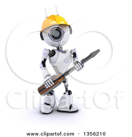 3d Futuristic Robot Construction Worker Contractor Holding a Screwdriver, on a Shaded White Background Posters, Art Prints