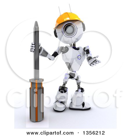 3d Futuristic Robot Construction Worker Contractor with a Phillips Screwdriver, on a Shaded White Background Posters, Art Prints