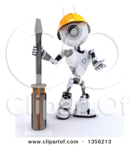 3d Futuristic Robot Construction Worker Contractor with a Screwdriver, on a Shaded White Background Posters, Art Prints