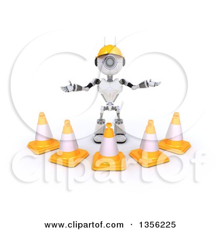 Clipart of a 3d Futuristic Robot Construction Worker Contractor with Cones, on a Shaded White Background - Royalty Free Illustration by KJ Pargeter