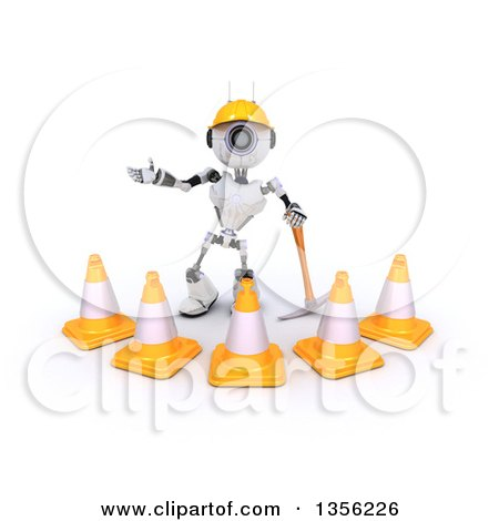 Clipart of a 3d Futuristic Robot Construction Worker Contractor with a Pickaxe and Cones, on a Shaded White Background - Royalty Free Illustration by KJ Pargeter