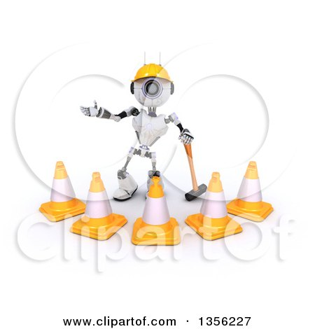 Clipart of a 3d Futuristic Robot Construction Worker Contractor with a Sledgehammer and Cones, on a Shaded White Background - Royalty Free Illustration by KJ Pargeter