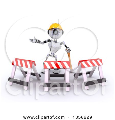 Clipart of a 3d Futuristic Robot Construction Worker Contractor with a Pickaxe and Barriers, on a Shaded White Background - Royalty Free Illustration by KJ Pargeter
