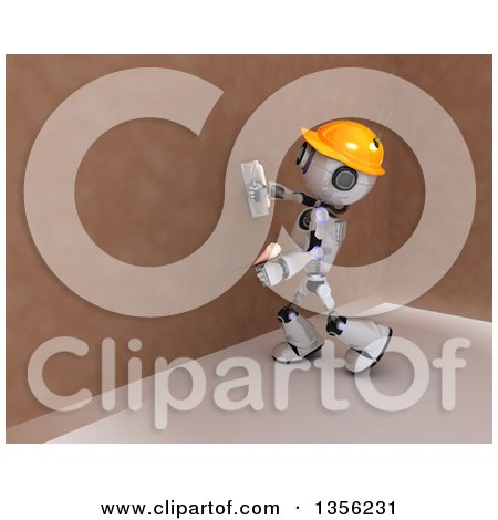 Clipart of a 3d Futuristic Robot Construction Worker Contractor Applying Plaster - Royalty Free Illustration by KJ Pargeter