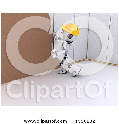 Clipart of a 3d Futuristic Robot Construction Worker Contractor Applying Plaster over Drywall - Royalty Free Illustration by KJ Pargeter