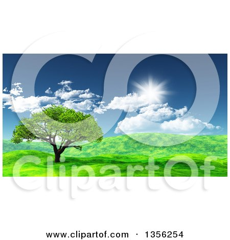 Clipart Of A 3d Tree In A Hilly Green Spring Landscape On A Sunny Day Royalty Free Illustration
