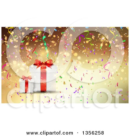 Clipart of a Background of 3d Christmas Gifts with Colorful Confetti over Gold - Royalty Free Vector Illustration by KJ Pargeter