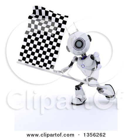 Clipart Of A 3d Robot Swinging a Checkered Racing Flag -Royalty Free Illustration by KJ Pargeter