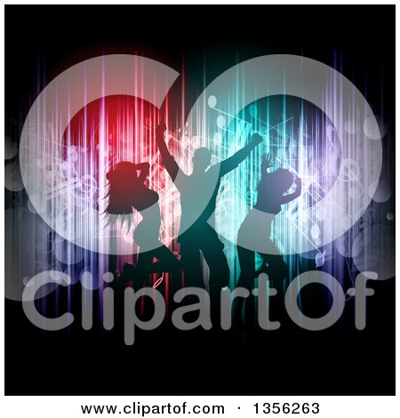 Clipart of Silhouetted People Dancing over Colorful Vertical Lights and Flares with Music Notes on Black - Royalty Free Vector Illustration by KJ Pargeter