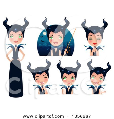 Clipart of a Maleficent Witch in Different Poses - Royalty Free Vector Illustration by Melisende Vector