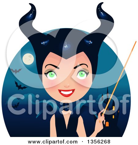Clipart of a Maleficent Witch Holding a Wand over a Castle, Full Moon and Bats - Royalty Free Vector Illustration by Melisende Vector