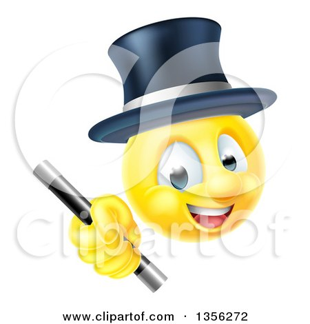 Clipart of a 3d Yellow Male Smiley Emoji Emoticon Magician Holding a Wand - Royalty Free Vector Illustration by AtStockIllustration