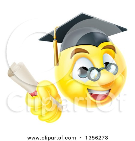Clipart of a 3d Yellow Male Smiley Emoji Emoticon Graduate Holding a Diploma - Royalty Free Vector Illustration by AtStockIllustration