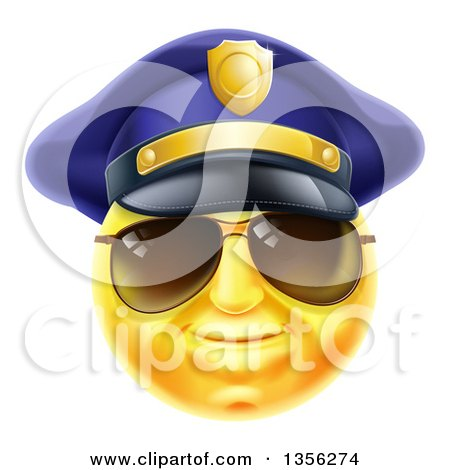 Clipart of a 3d Yellow Male Smiley Emoji Emoticon Face Police Officer Wearing Sunglasses - Royalty Free Vector Illustration by AtStockIllustration