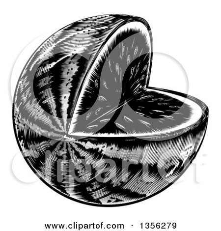 Clipart of a Black and White Vintage Woodcut Watermelon with a Missing Wedge - Royalty Free Vector Illustration by AtStockIllustration
