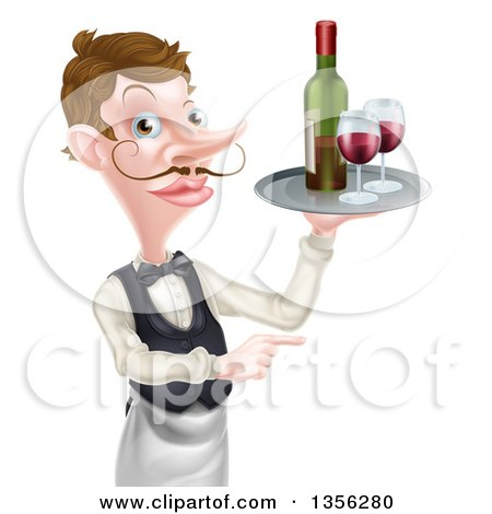 Clipart of a Cartoon Caucasian Male Waiter with a Curling Mustache, Holding Red Wine on a Tray and Pointing - Royalty Free Vector Illustration by AtStockIllustration