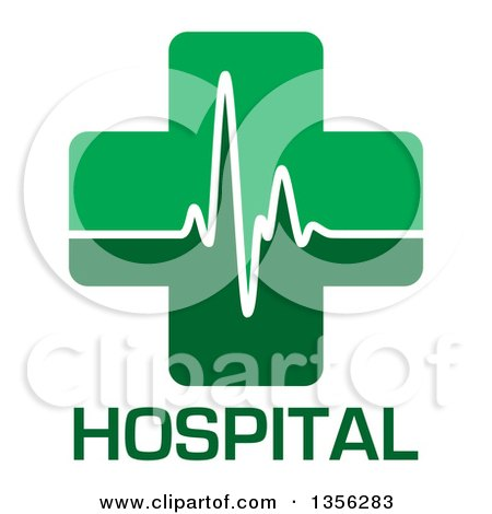 Clipart of a Green Medical Cross with a Heart Beat over Hospital Text - Royalty Free Vector Illustration by michaeltravers