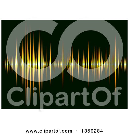 Clipart of a Sound Equalizer Background of Orange Bars on Black - Royalty Free Vector Illustration by michaeltravers
