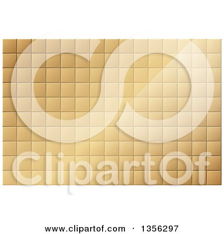 Clipart of a Gold Tile Background with Light - Royalty Free Vector Illustration by dero