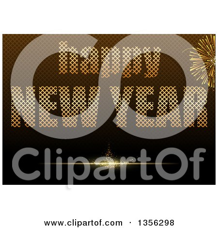 Clipart of a Happy New Year Greeting with Fireworks over a Brown Grid - Royalty Free Vector Illustration by dero