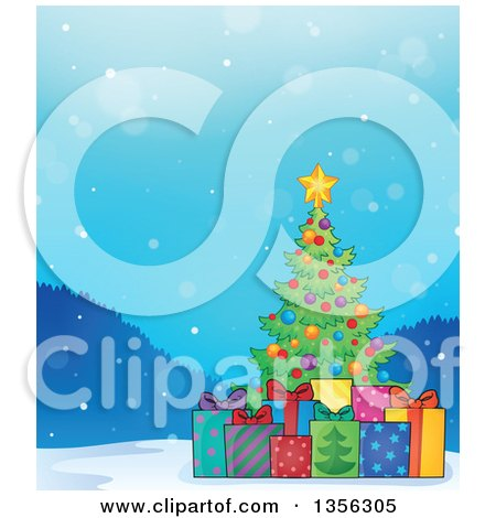 Clipart of a Christmas Tree with Gifts in the Snow - Royalty Free Vector Illustration by visekart