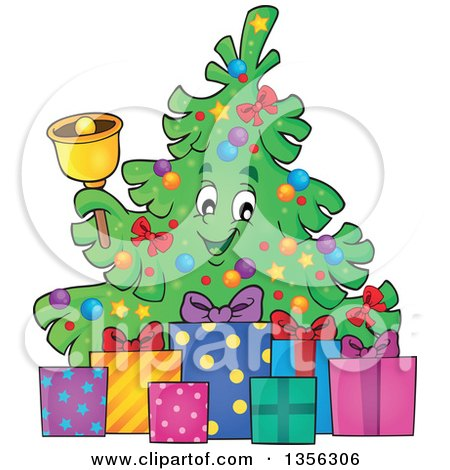 Clipart of a Christmas Tree Character Ringing a Bell, with Gifts - Royalty Free Vector Illustration by visekart