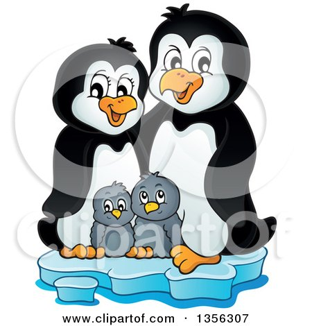 Clipart of a Cartoon Happy Penguin Family on Ice - Royalty Free Vector Illustration by visekart