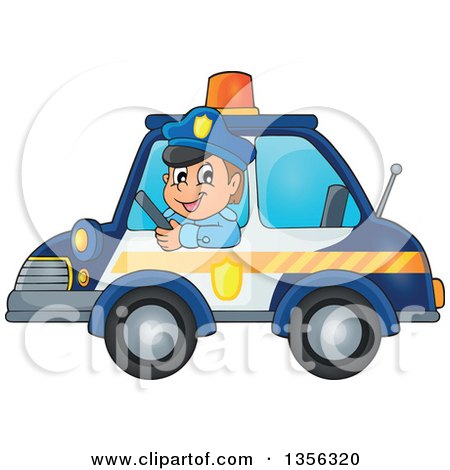 Clipart of a Cartoon White Male Police Officer Driving a Car - Royalty Free Vector Illustration by visekart