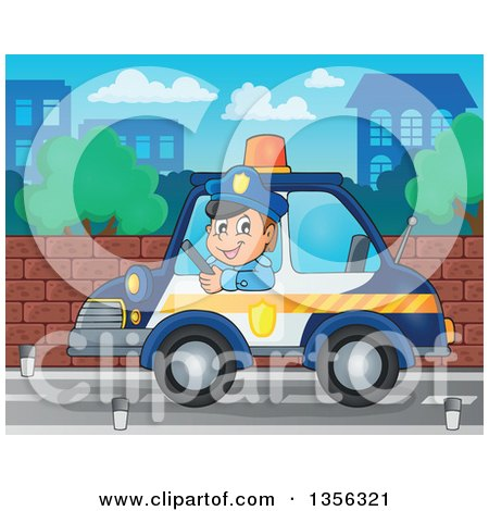 Clipart of a Cartoon White Male Police Officer Driving a Car in a City - Royalty Free Vector Illustration by visekart
