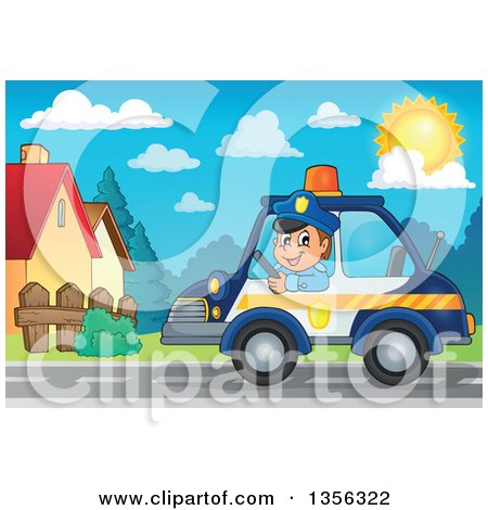 Clipart of a Cartoon White Male Police Officer Driving a Car Through a Neighborhood - Royalty Free Vector Illustration by visekart