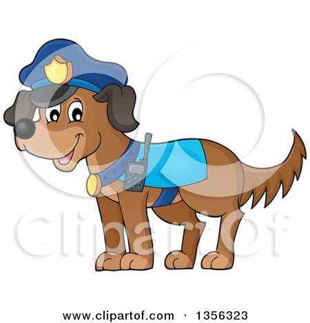 Clipart of a Cartoon Police Dog - Royalty Free Vector Illustration by visekart