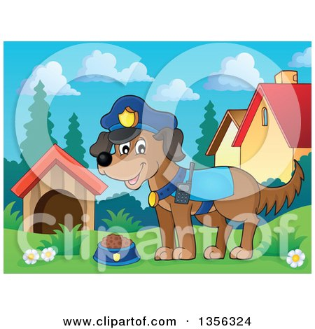 Clipart of a Cartoon Police Dog in a Yard - Royalty Free Vector Illustration by visekart