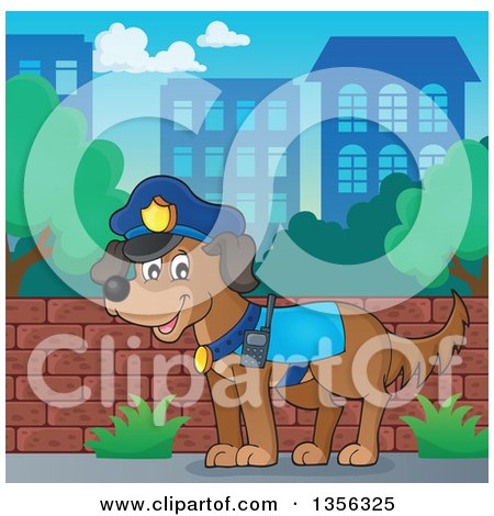 Clipart of a Cartoon Police Dog in a City - Royalty Free Vector Illustration by visekart