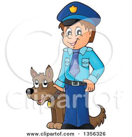 Clipart of a Cartoon White Male Police Officer with a Dog - Royalty Free Vector Illustration by visekart