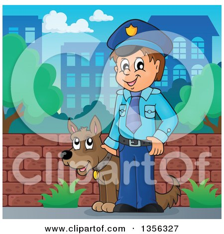 Clipart of a Cartoon White Male Police Officer with a Dog in a City - Royalty Free Vector Illustration by visekart