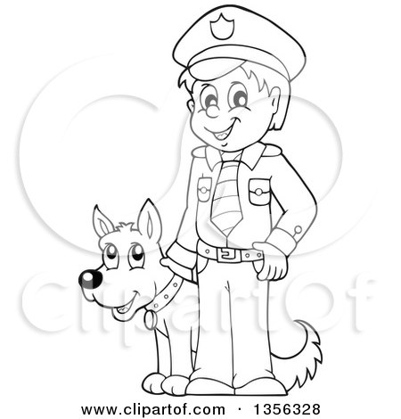 Clipart Of A Friendly Asian Police Woman Walking A K 9