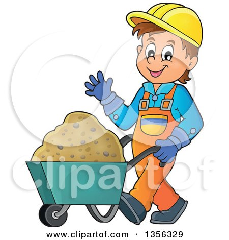 Clipart of a Caucasian Male Construction Worker Waving and Moving Sand in a Wheelbarrow - Royalty Free Vector Illustration by visekart