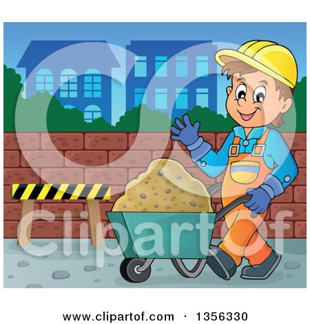 Clipart of a Caucasian Male Construction Worker Waving and Moving Sand in a Wheelbarrow on a City Lot - Royalty Free Vector Illustration by visekart