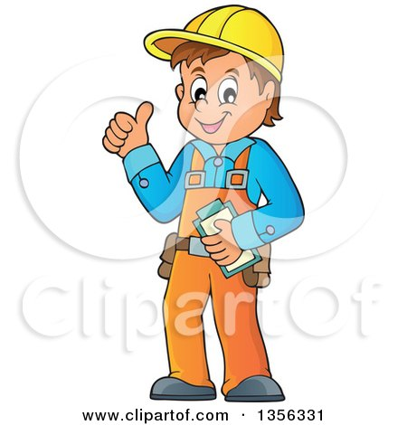 Clipart of a Cartoon Caucasian Male Construction Worker Giving a Thumb up - Royalty Free Vector Illustration by visekart