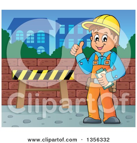 Clipart of a Cartoon Caucasian Male Construction Worker Giving a Thumb up in the City - Royalty Free Vector Illustration by visekart