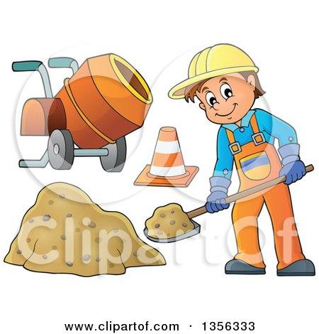 clipart of a cartoon caucasian male construction worker shoveling
