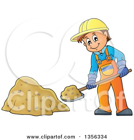 Clipart of a Cartoon Caucasian Male Construction Worker Shoveling Sand - Royalty Free Vector Illustration by visekart