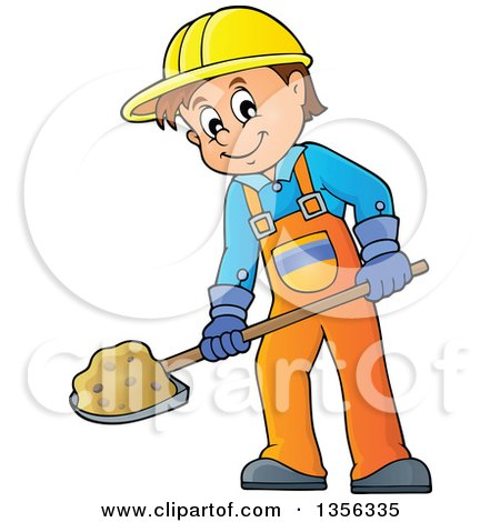 Clipart of a Cartoon Caucasian Male Construction Worker Shoveling - Royalty Free Vector Illustration by visekart