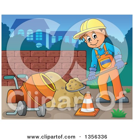 Clipart of a Cartoon Caucasian Male Construction Worker Shoveling Sand by a Concrete Mixer - Royalty Free Vector Illustration by visekart