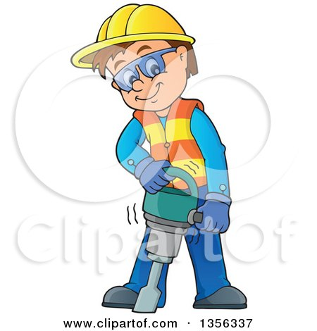 Clipart of a Cartoon Caucasian Male Construction Worker Using a Jackhammer - Royalty Free Vector Illustration by visekart