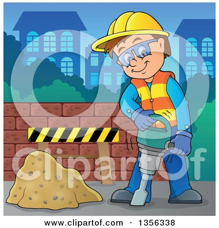 Clipart of a Cartoon Caucasian Male Construction Worker Using a Jackhammer in a City - Royalty Free Vector Illustration by visekart