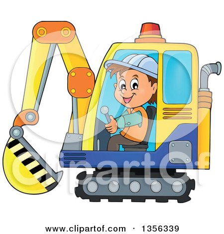 Cartoon Caucasian Male Construction Worker Operating an Excavator Posters, Art Prints